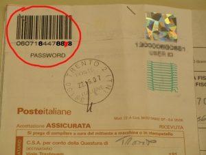 Ricevuta delle Poste Italiane