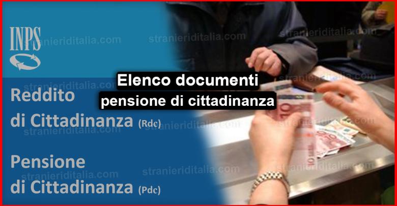 Elenco documenti pensione di cittadinanza