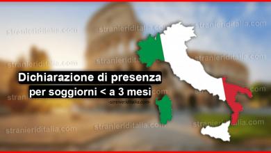 Photo of Dichiarazione di presenza per soggiorni inferiori a 3 mesi in Italia