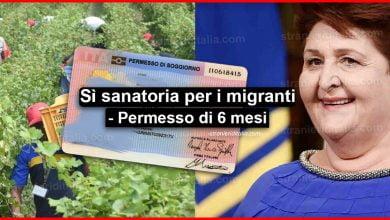 Photo of Sì sanatoria per i migranti: permesso di soggiorno di 6 mesi