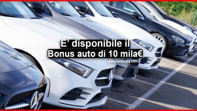 Photo of Bonus auto fino a 10 mila euro: dal 1 agosto disponibile l'incentivo